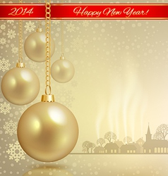 Golden ball with red ribbon vector image vector image