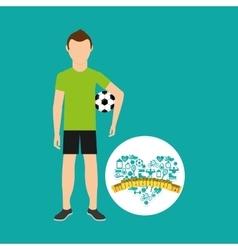 Heart weight loss sport person soccer vector