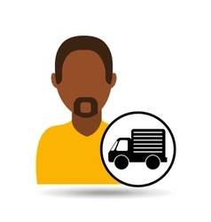 man bearded character truck vehicle transport vector image