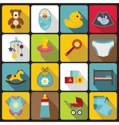 Newborn icons set flat style vector image
