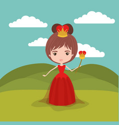 Queen fantastic character with crown and scepter vector