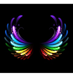 rainbow wings vector image vector image