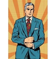 Retro businessman boss gray hair vector