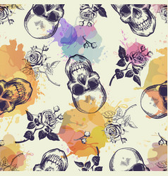 seamless pattern with skulls and rose flowers vector image