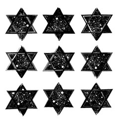 Set of the stars of david created in grunge vector