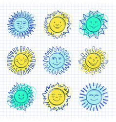 sketch sun kids drawing hand drawn sunshine icons vector image vector image