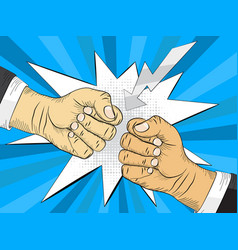 Two hands in bumping together fighting gesture vector
