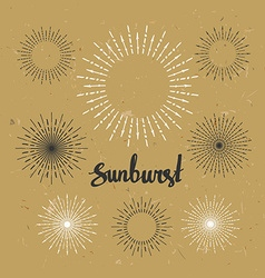 Vintage sunburst collection hipster style on the vector