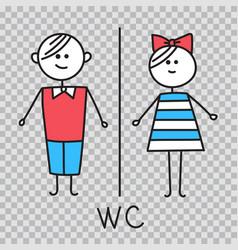 wc water closet toilet door plate icons vector image