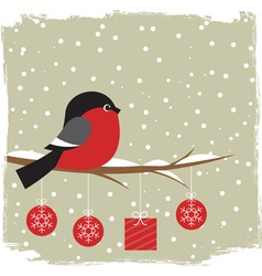 Winter card with bullfinch vector