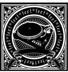 Black and white dj player vector