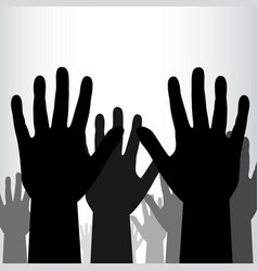 Crowd of black hands background vector