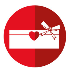 Love cardboard box bow romance present shadow vector