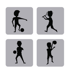 Monochrome square buttons set of male silhouette vector