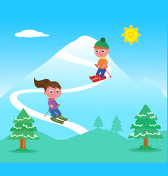 kids skiing on mountains vector image