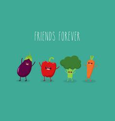 Funny various cartoon vegetables clip art vector