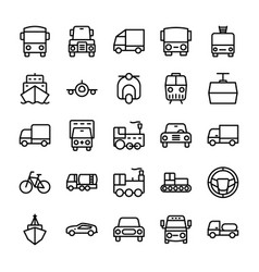 Automobile line icons 5 vector
