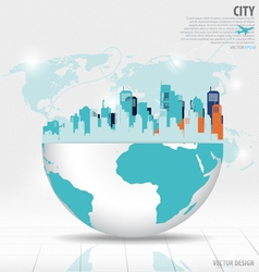 City with modern design globe vector