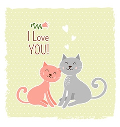 Cute cats valentine card vector