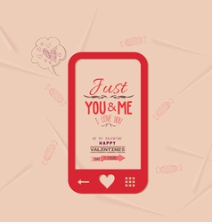 Happy valentine with phone message of love vector