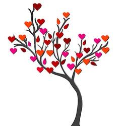 Card with love tree over white background vector