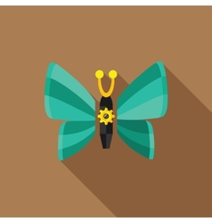 Steampunk butterfly - flat icon with long shadow vector