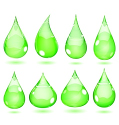 Opaque drops in saturated green colors vector