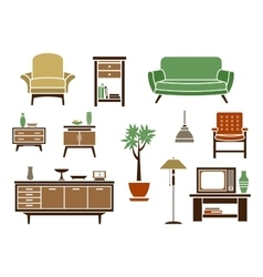 Flat interior and furniture icons vector
