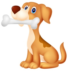 Cute dog with bone vector