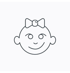 Baby girl face icon child with smile sign vector