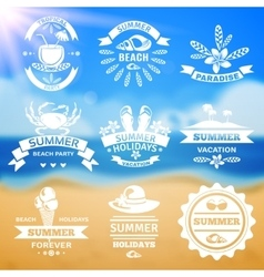 Summer vacation typography emblems labels set vector