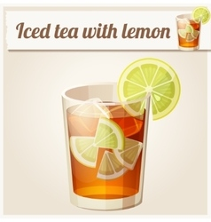 Glass of iced tea detailed icon vector