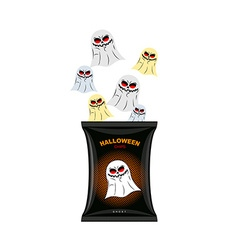 Halloween chips with ghosts treats for dreaded vector
