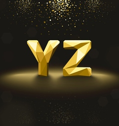 Golden lowpoly font from y to z vector