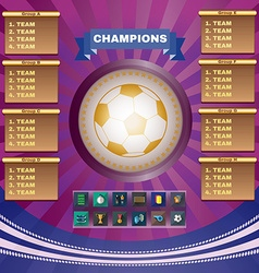 Football champions groups and teams vector