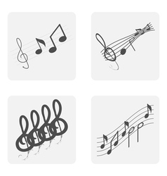 Monochrome icon set with notes and treble clef vector