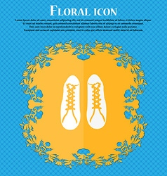 Shoes icon floral flat design on a blue abstract vector