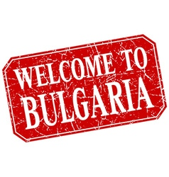 Welcome to bulgaria red square grunge stamp vector