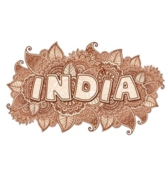 India lettering on henna colors mehndi floral vector image