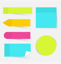 A colored set of sticky notes flat design modern vector