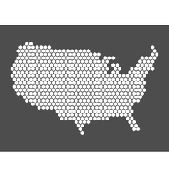 Abstract USA map of hexagons vector image vector image