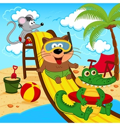 Animals in aqua park vector