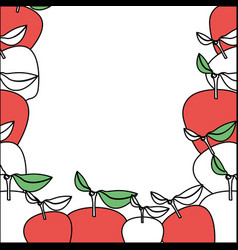 Background with color sections of apple fruits vector