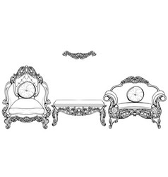 Baroque armchair and table set with luxurious vector