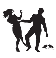 Businessman and businesswoman dancing black vector image vector image