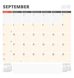 Calendar planner for september 2018 design vector