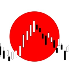 Candlestick chart with Japanese flag in background vector image