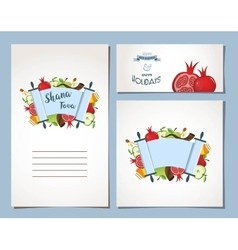 Card set for jewish holiday rosh hashana with vector