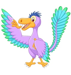Cartoon archaeopteryx waving vector