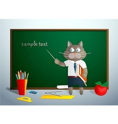 Cartoon cat in school vector image vector image